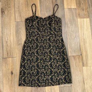 Ann Taylor Loft Black & Gold Cocktail dress 14 EUC